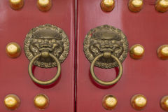 China's traditional wooden door knocker. First, commonly known as knocker. Base knocker first is precise, spread, spread the first title ring is a complete door Royalty Free Stock Photo