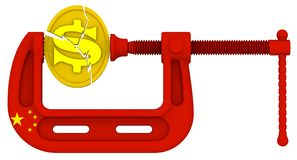 China sanctions pressure on the USA economy. Concept. Gold coin with the symbol of the USA dollar is clamped in the clamp Clamp in colors of China flag stock illustration