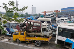 China scrapped many of the cars pile up Stock Photos