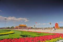 China se está preparando para el 90.o en Tiananmen Foto de archivo