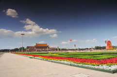 China se está preparando para el 90.o en Tiananmen Fotos de archivo libres de regalías
