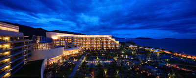 China sea resort sanya at night. China sanya yalong bay resort hotel at night stock photo