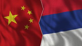 China and Serbia Half Flags Together stock illustration