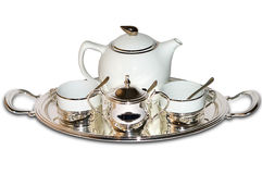 China set. With silver inserts and tea tray. Isolated over white Stock Image