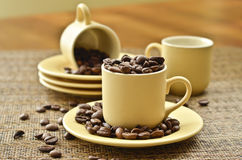 China set and coffee beans Stock Photography