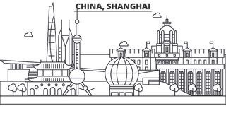 China, Shanghai architecture line skyline illustration. Linear vector cityscape with famous landmarks, city sights Stock Photo