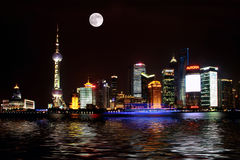 China Shanghai Bund night scene Stock Photography