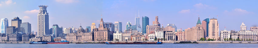 China Shanghai Bund panorama view Royalty Free Stock Photography