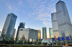 China Shanghai business and financial center. Modern buildings under blue sky, in Shanghai urban business and financial center, shown as economy center and Stock Images