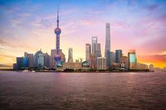 Shanghai city skyline. China Shanghai city skyline at dusk, Shanghai China Royalty Free Stock Photo
