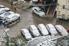 Shanghai snow. China Shanghai has high winter temperatures but not very low temperatures, so it seldom snows. Today, however, the first snow since the beginning Stock Image