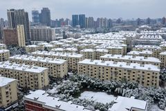 Shanghai snow. China Shanghai has high winter temperatures but not very low temperatures, so it seldom snows. Today, however, the first snow since the beginning Royalty Free Stock Images
