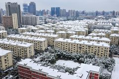 Shanghai snow. China Shanghai has high winter temperatures but not very low temperatures, so it seldom snows. Today, however, the first snow since the beginning Royalty Free Stock Photography