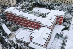 Shanghai snow. China Shanghai has high winter temperatures but not very low temperatures, so it seldom snows. Today, however, the first snow since the beginning Royalty Free Stock Photo