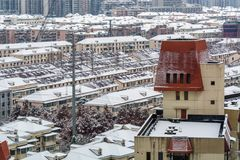 Shanghai snow. China Shanghai has high winter temperatures but not very low temperatures, so it seldom snows. Today, however, the first snow since the beginning Stock Images