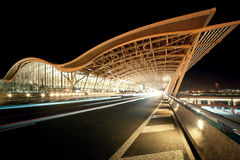 China Shanghai Hongqiao Airport Night. Eastphoto, tukuchina, China Shanghai Hongqiao Airport Night, City Landmark, China, Shanghai Stock Photo