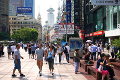 China shanghai nanjing road pedestrian street Stock Photos