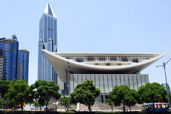 China, Shanghai; the new theatre building. An example of the new architecture developped during the last few years Royalty Free Stock Photos