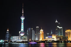 China Shanghai Night. Shanghai is China's financial center.Real estate is China's most important  industries now.More and more  building will create Stock Photos