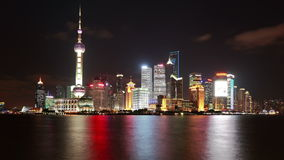 China Shanghai Night Time Lapse(Zoom In). Royalty Free Stock Photos