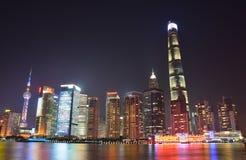 Shanghai Neon light the bund. China Shanghai night view at the bund royalty free stock photo