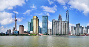 China shanghai panorama. China shanghai bund, china's financial center, is one of asia's most prosperous cities stock photos