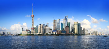 China shanghai panorama. China shanghai bund, china's financial center, is one of asia's most prosperous cities Royalty Free Stock Images