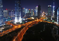 China shanghai panorama. Night view of the bund in shanghai, china, china's leading economic development zone, is a bustling city royalty free stock photo