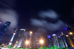 China shanghai panorama. Night view of the bund in shanghai, china, china's leading economic development zone, is a bustling city royalty free stock images