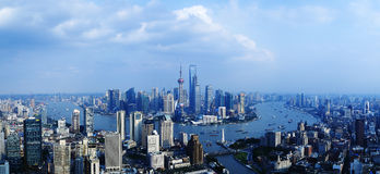 China shanghai panorama. China shanghai bund, china's financial center, is one of asia's most prosperous cities royalty free stock photos