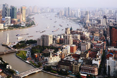 China shanghai panorama. China shanghai bund, china's financial center, is one of asia's most prosperous cities stock photo