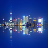 China Shanghai skyline night Stock Photography