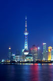 China Shanghai skyline night Stock Image