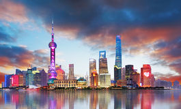 China - Shanghai skyline. At sunset Royalty Free Stock Photography