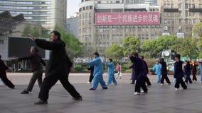 China, Shanghai, Tai Chi stock video
