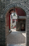 China, the Shaolin Monastery. Patios and arched transition betwe. En them Stock Images