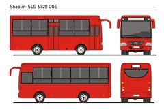 China Shaolin Passenger Bus Model SLG 6720 CGE. Detailed template AI Format for design and production of vehicle wraps scale 1:10 Royalty Free Stock Photo