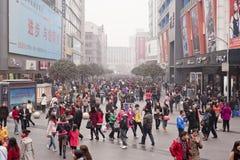 CHINA: shopping. CHINA: Christmas shopping: Qingnian Rd, Chunxi area in Chengdu Royalty Free Stock Photo