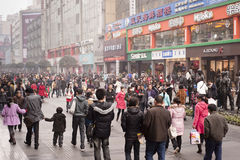 CHINA: shopping street. CHINA: Christmas shopping: Qingnian Rd, Chunxi area in Chengdu in a foggy day Stock Image