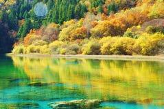 China Sichuan Jiuzhaigou scenery. China Sichuan Jiuzhaigou scenic mountains and water Royalty Free Stock Images