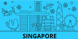 China, Singapore city winter holidays skyline. Merry Christmas, Happy New Year decorated banner with Santa Claus.China royalty free illustration