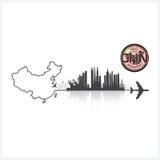 China Skyline Buildings Silhouette Background Stock Image