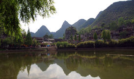 China small village. A small village in west south of China, Longgong park with a river named xuantang royalty free stock photography