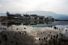 China small village. Chinese old small village located in Anhui province, bagua village, surround with river Stock Photo