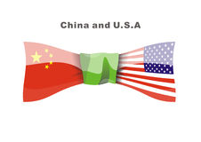 China snd U.S.A. China and Americaare fellowship now stock illustration