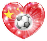 China soccer heart flag Royalty Free Stock Image
