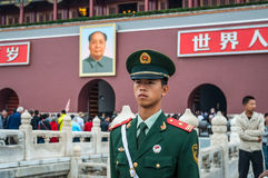 China Soldier at Tien'anmen Square stands duty at the entrance o Royalty Free Stock Photography