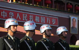 China soldiers. Soldiers in Tiananmen Square, Beijing, China. The Chinese Army is the world's largest military force, with approximately 3 million member royalty free stock photo