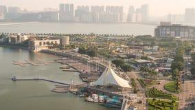 China soleada del lapso de tiempo del panorama 4k del tejado de la bahía de la tarde de Macao almacen de video