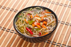 China soup with noodles and vegetables Stock Photos